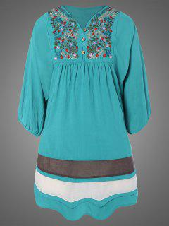 Plus Size Embroidered Bib Tunic Dress - Lake Blue