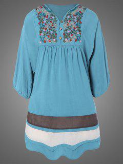 Plus Size Embroidered Bib Tunic Dress - Light Blue