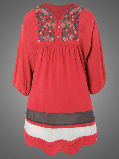 Plus Size Embroidered Bib Tunic Dress - Watermelon Red