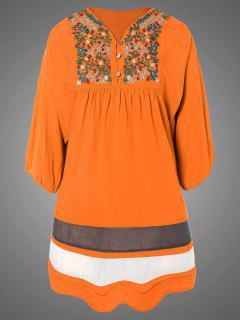 Más El Tamaño De Vestido De La Túnica Bordada Babero - Naranja