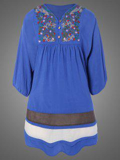 Plus Size Embroidered Bib Tunic Dress - Denim Blue