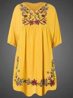 Embroidered Floral Bib Tunic Dress - Yellow