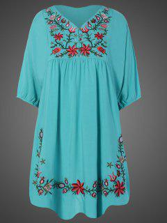 Embroidered Floral Bib Tunic Dress - Lake Blue