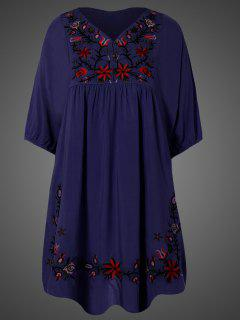 Embroidered Floral Bib Tunic Dress - Purplish Blue
