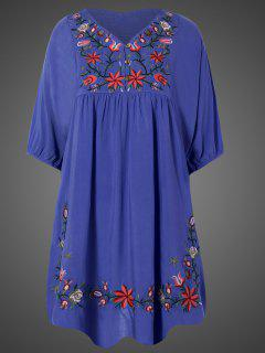 Embroidered Floral Bib Tunic Dress - Denim Blue