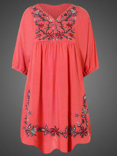 Embroidered Floral Bib Tunic Dress - Watermelon Red