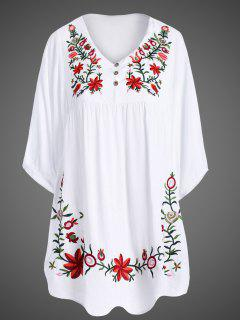 Robe Tunique Grande Taille Avec Broderies - Blanc