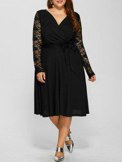 Lace Sleeve Surplice Plus Size Dress - Black Xl