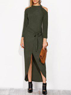Asymmetric Cold Shoulder Knitted Dress - Blackish Green S