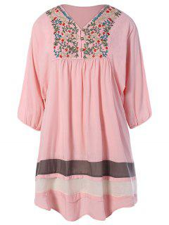 Embroidered Bib Tunic Dress - Pink