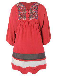 Robe A Line Brodée Décontractée - Pastèque Rouge