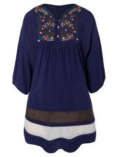 Embroidered Bib Tunic Dress - Purplish Blue