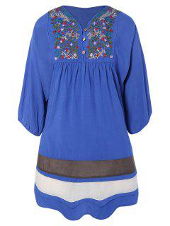 Embroidered Bib Tunic Dress - Denim Blue