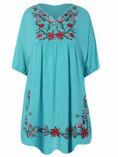 Robe Tunique Style Casual Avec Broderies Florales - Pers