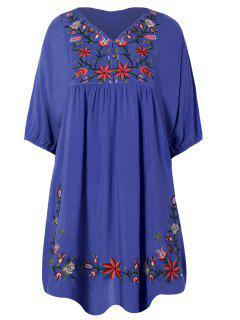 Floral Bestickte Lätzchen Tunika Kleid - Denim Blau