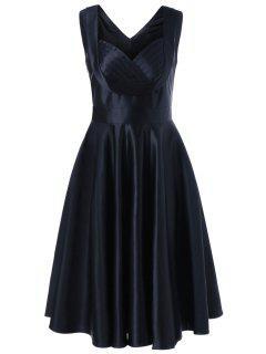 Robe Vintage Patineuse à Col Cache-coeur Sans Manches - Noir Xl