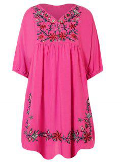 Robe Tunique Style Casual Avec Broderies Florales - Rose Rouge