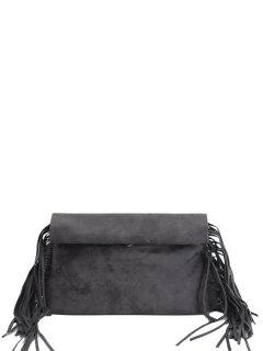 Fringe Roll Over Clutch Bag - Deep Gray
