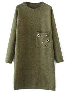 Jewel Neck Pocket Sweater Dress - Green