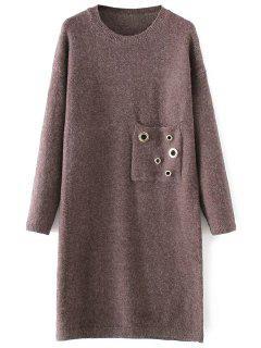 Jewel Neck Pocket Sweater Dress - Light Coffee
