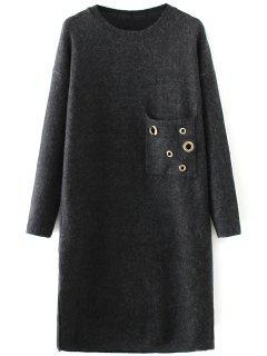Jewel Neck Pocket Sweater Dress - Noir