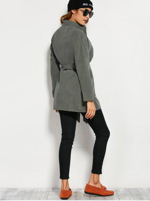 best Belted Wrap Trench Coat - ARMY GREEN M Mobile