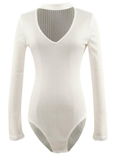 best Cut Out Fitted Choker Bodysuit - WHITE M Mobile