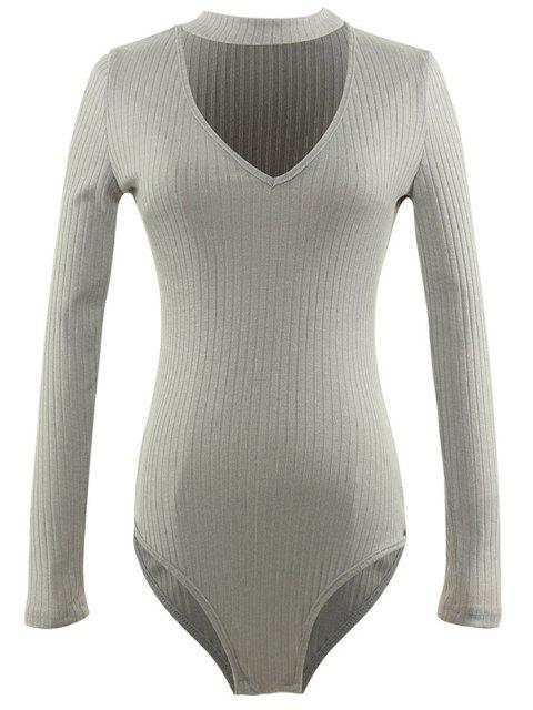 women's Cut Out Fitted Choker Bodysuit - GRAY XL Mobile