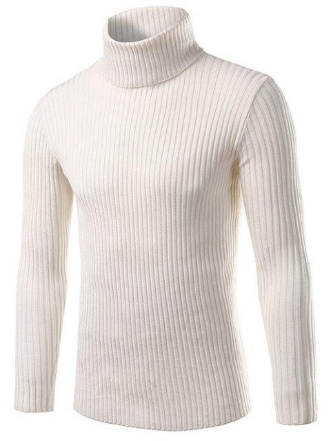 chic Slim Fit Roll Neck Ribbed Knitted Sweater - WHITE M Mobile