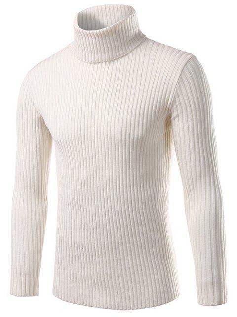 Slim Fit Rollkragen Gerippte Strickpullover - Weiß M Mobile