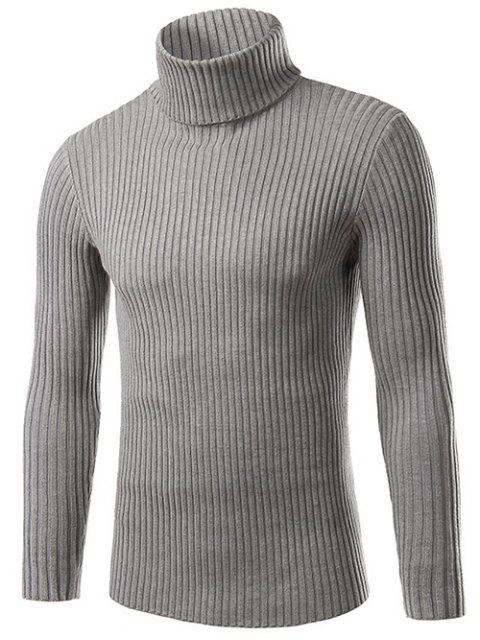 sale Slim Fit Roll Neck Ribbed Knitted Sweater - GRAY M Mobile