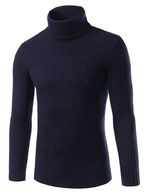 womens Slim Fit Roll Neck Ribbed Knitted Sweater - CADETBLUE 3XL Mobile