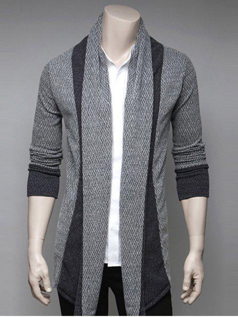 Farbblock Spleißen Umlegekragen Strickjacke - Hellgrau XL  Mobile