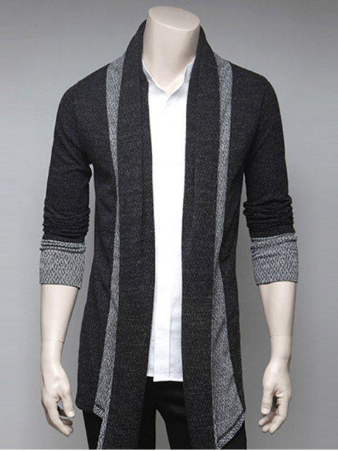 trendy Color Block Splicing Turndown Collar Cardigan - DEEP GRAY XL Mobile