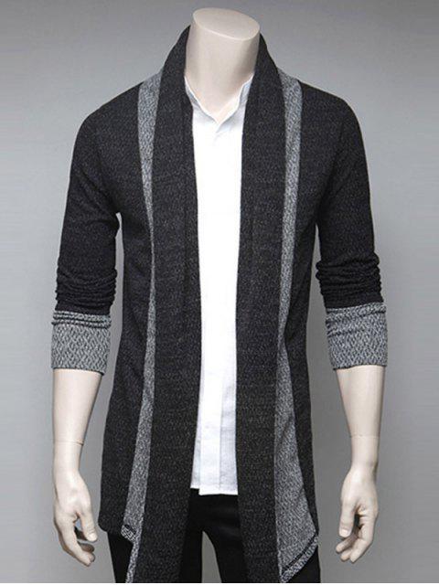 fancy Color Block Splicing Turndown Collar Cardigan - DEEP GRAY L Mobile