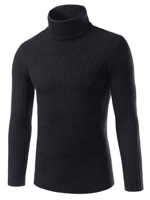 affordable Slim Fit Roll Neck Ribbed Knitted Sweater - BLACK L Mobile