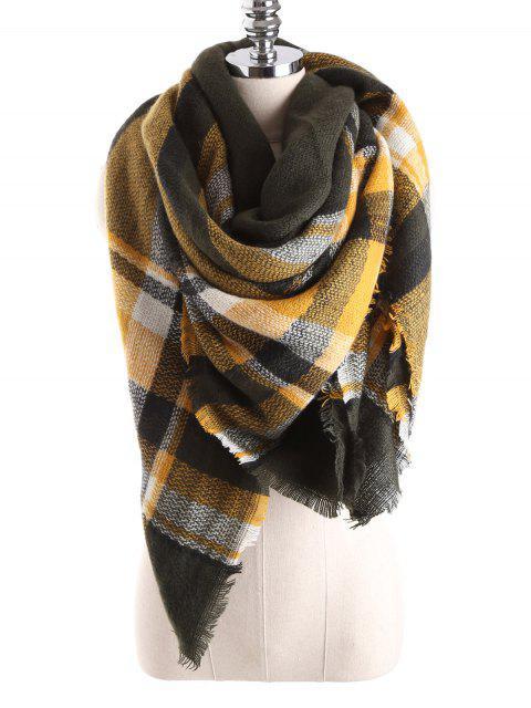 women's Tartan Plaid Blanket Shawl Scarf - YELLOW  Mobile