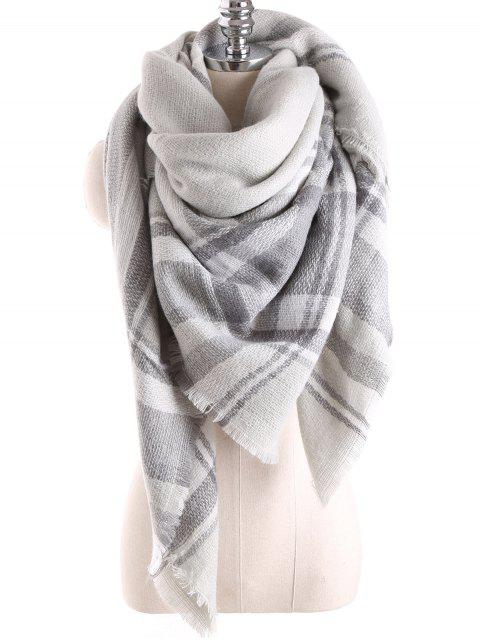 new Tartan Plaid Blanket Shawl Scarf - FROST  Mobile