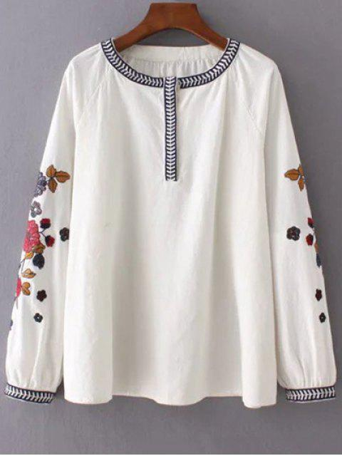 women Embroidered Sleeve Blouse - OFF-WHITE S Mobile