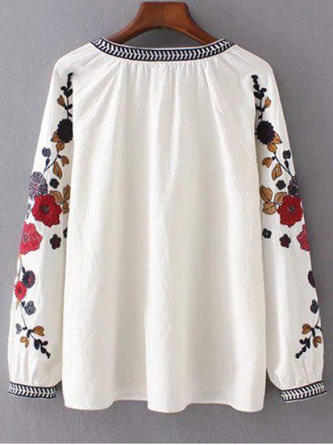 buy Embroidered Sleeve Blouse - OFF-WHITE L Mobile