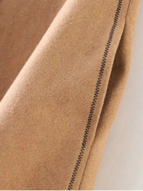 hot Wool Blend Flounce Mini Skirt - KHAKI M Mobile