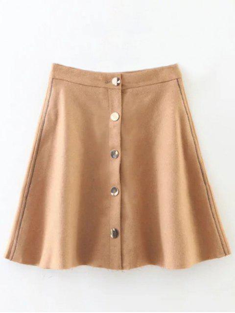 new Wool Blend Flounce Mini Skirt - KHAKI L Mobile