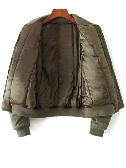 fashion Eagle Embroidered Quilted Bomber Jacket - ARMY GREEN L Mobile