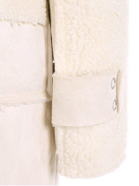 shops Faux Suede Fleece Lining Zipped Coat - OFF-WHITE L Mobile