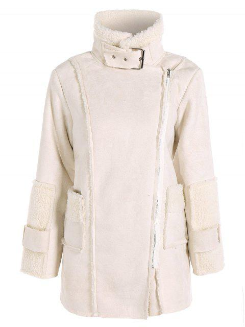 trendy Faux Suede Fleece Lining Zipped Coat - OFF-WHITE S Mobile