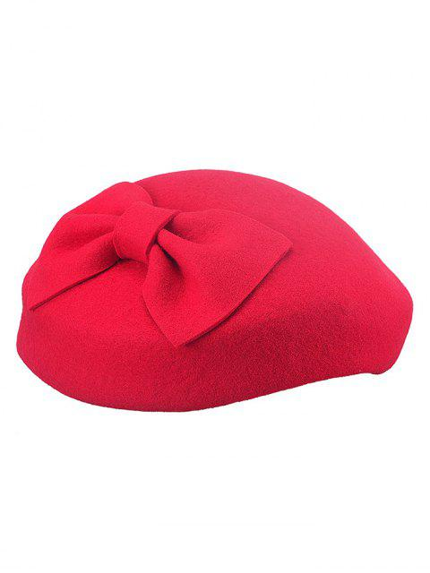 women's Bowknot Embellished Beret Hat - RED  Mobile
