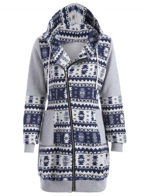 Long chandail jacquard  tribal a capuche - Gris et Bleu M Mobile
