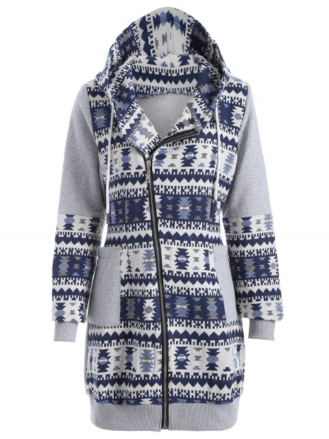 Modelo tribal Jacquard palangre con capucha - Gris y Azul M Mobile
