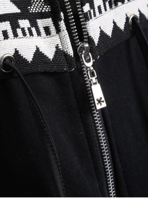 women's Jacquard Tribal Longline Hoodie - WHITE AND BLACK M Mobile