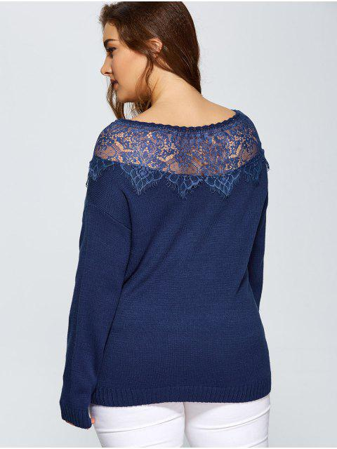 womens Lace Insert Pullover Plus Size Sweater - DEEP BLUE 5XL Mobile